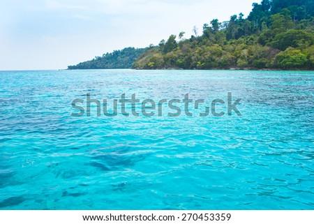 Sea view at koh rok, krabi thailand - stock photo