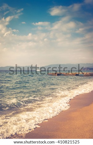 Sea  view from beach with retro look, summer  - stock photo