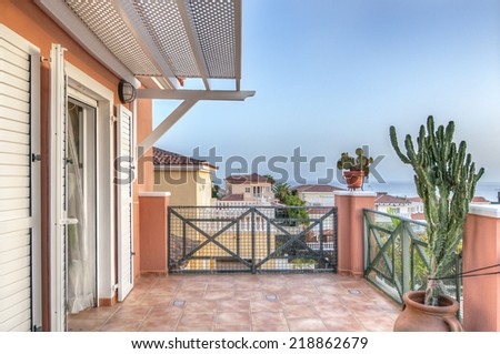 sea view from terrace - stock photo
