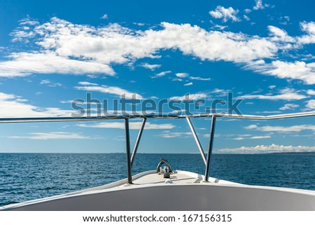 Sea view from the front of the boat - stock photo