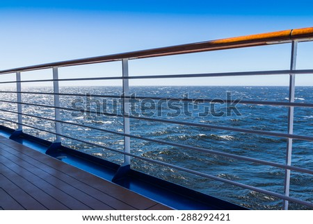 Sea view from the promenade deck of the cruise - stock photo