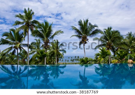 Sea view infinity pool - stock photo