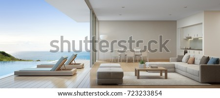 Sea View Kitchen, Dining And Living Room Of Luxury Beach House With Terrace  Near Swimming
