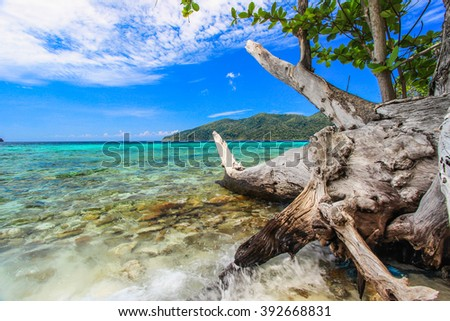 Sea view on bright sunshine day - stock photo
