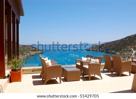 Sea view relaxation area of luxury hotel, Crete, Greece - stock photo