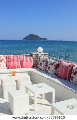 sea view relaxation area of luxury hotel in Zakynthos