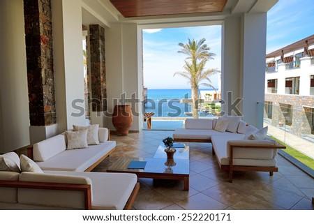 Sea view terrace at luxury hote, Crete, Greece - stock photo