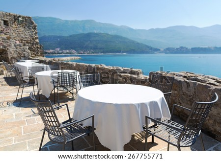 Sea view terrace of the luxury hotel - stock photo
