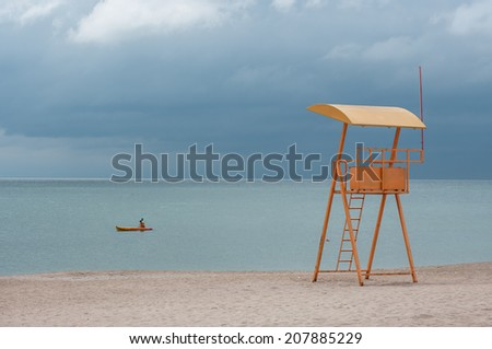 sea view with a lifeguard observation point - stock photo