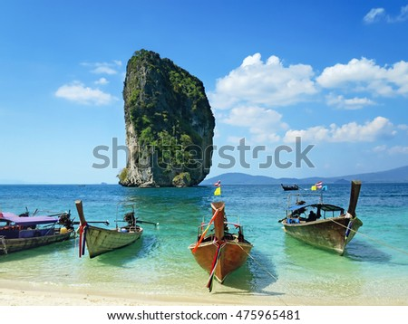 Sea view with boats Poda island, Thailand
