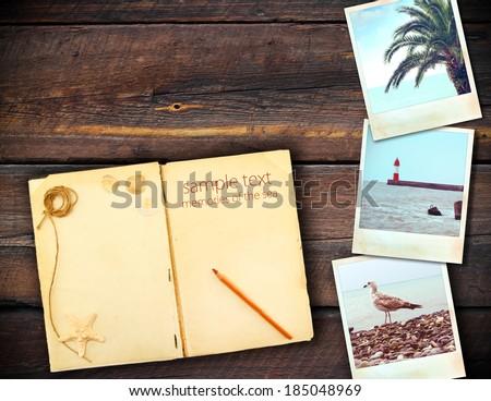 sea vintage photo retro style wooden background - stock photo