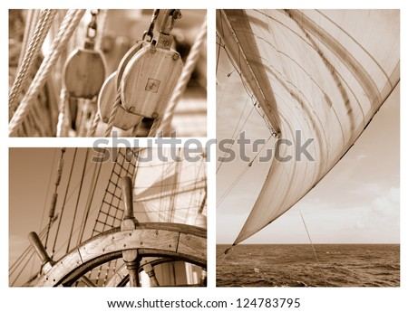 Sea voyage under sail - stock photo