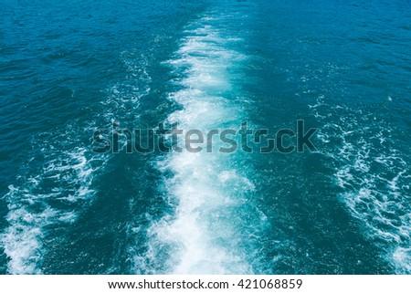 Sea wake behind large ship,Water wake of cruise liner - stock photo