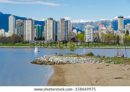 Sea walk at the Kitsilano Beach Park at Downtown of Vancouver, Canada. - stock photo