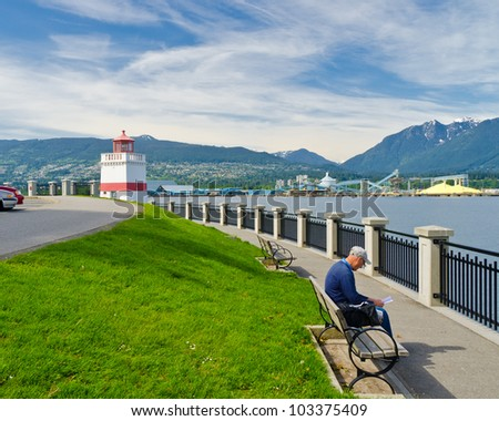 Sea walk at the Stanley Park at Downtown of Vancouver, Canada. - stock photo