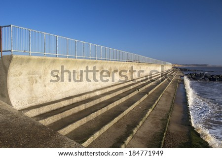 Sea wall and steps at Southwold, Suffolk , England.
