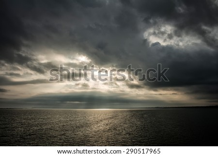 sea water clouds evening sunset