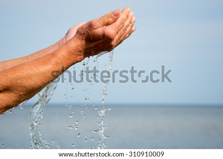 Sea water in human hands.