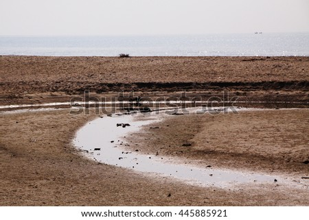 Sea water shortage on the coast - stock photo