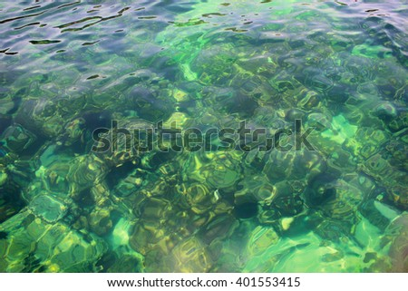 Sea water top view with sunlight on turquoise,close up,select focus with shallow depth of field