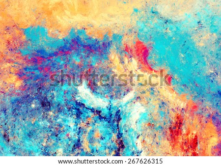 Sea wave and sand. Artistic splashes of bright paints. Abstract color background for wallpaper, interior, album, flyer cover, poster, booklet. Fractal artwork for creative graphic design. - stock photo