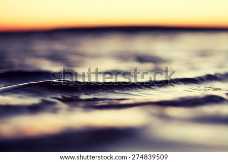 sea wave at sunset in summer - stock photo