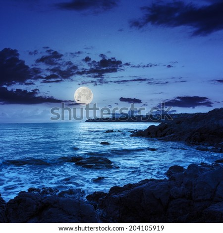 sea wave attacks the boulders and is broken about them at night in moon light - stock photo