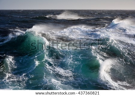 sea wave during storm - stock photo