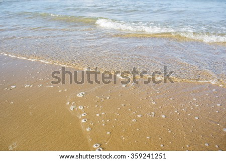Sea wave on beach background.