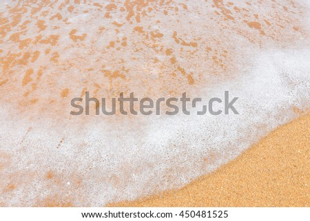 Sea wave over sand Wave of the sea on the sand beach Sea wave and sandy beach Wave on the sand beach background Beach background with summer beach sand.  - stock photo