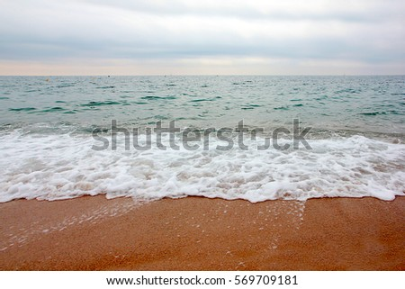 sea waves and sandy beach under sunny skyscape