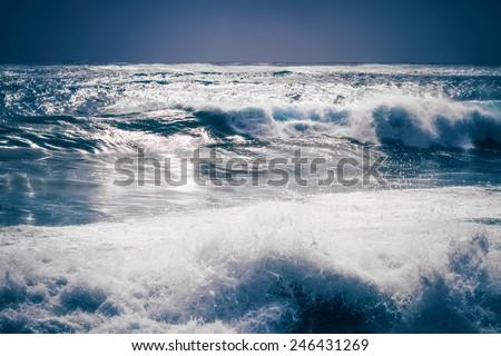 Sea waves at night - stock photo