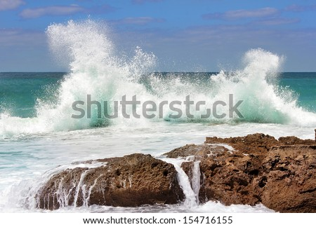 Sea waves crashing against the rocks, Tantura nature reserve, northern Israel - stock photo