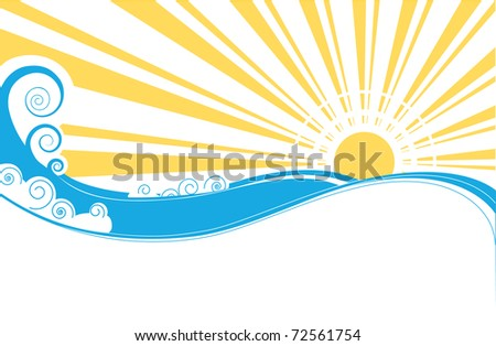 Sea waves. Illustration of sea landscape.Rastreized vector - stock photo
