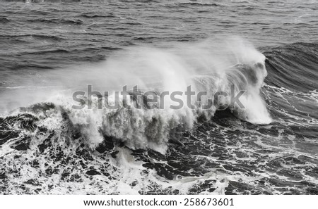sea waves in black and white version