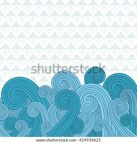 Sea waves on the sea. Raster version - stock photo