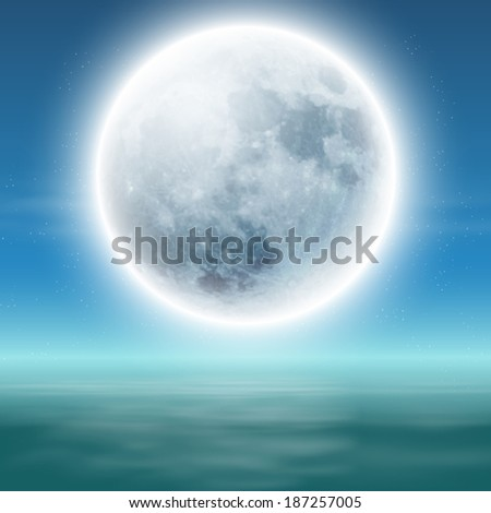 Sea with full moon at night. Raster version. - stock photo