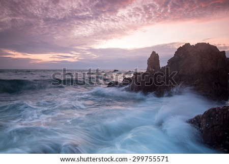 sea with soft wave at sunset