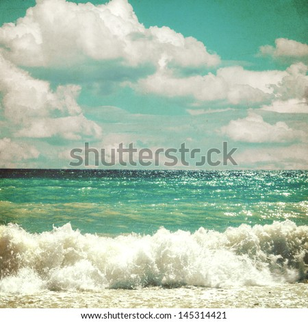 sea with waves and clouds sky - picture in retro style - stock photo
