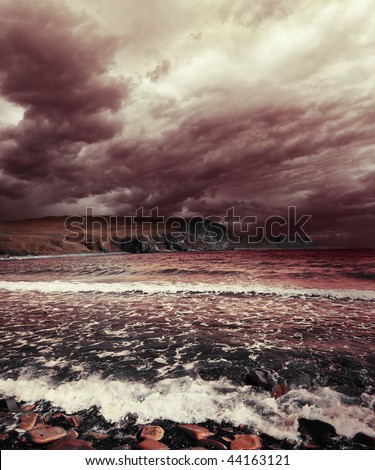 Sea with waves and storm clouds
