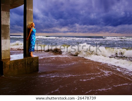 Sea woman is being in one's element - stock photo