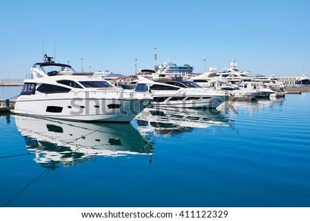 Sea Yacht Club in sunny summer day - stock photo