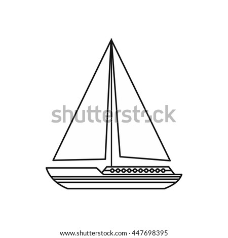 Sea yacht icon in outline style isolated on white background. Sea transport symbol - stock photo