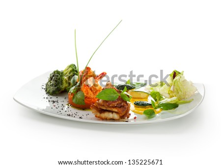 Seabass Fillet with Shrimps on Mashed Carrots with Broccoli