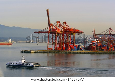 Seabus leaving the terminal in the Port of Vancouver - stock photo
