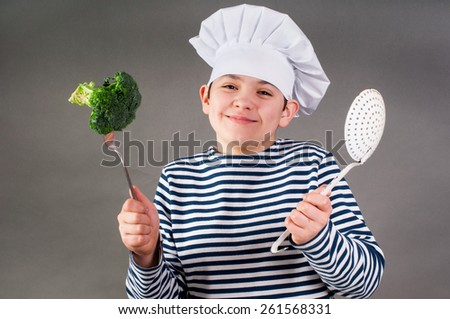 Seacook with broccoli - stock photo