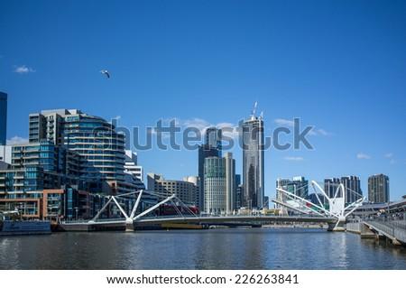 Seafarers Bridge over Yarra River in South Wharf , Melbourne CBD. - stock photo