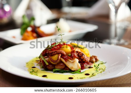 Seafood appetizer on restaurant table
