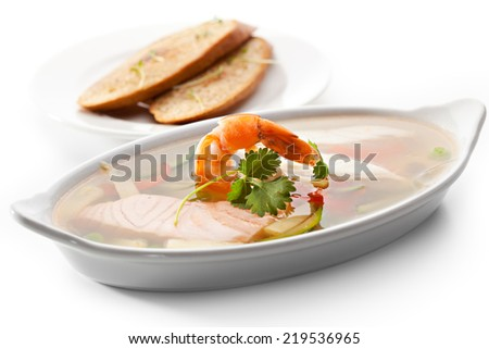 Seafood Aspic with Crispy Bread - stock photo