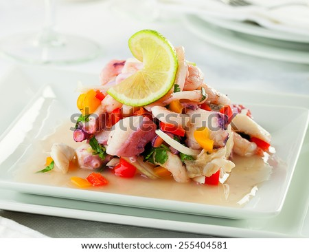 Seafood ceviche, typical dish from Peru - stock photo